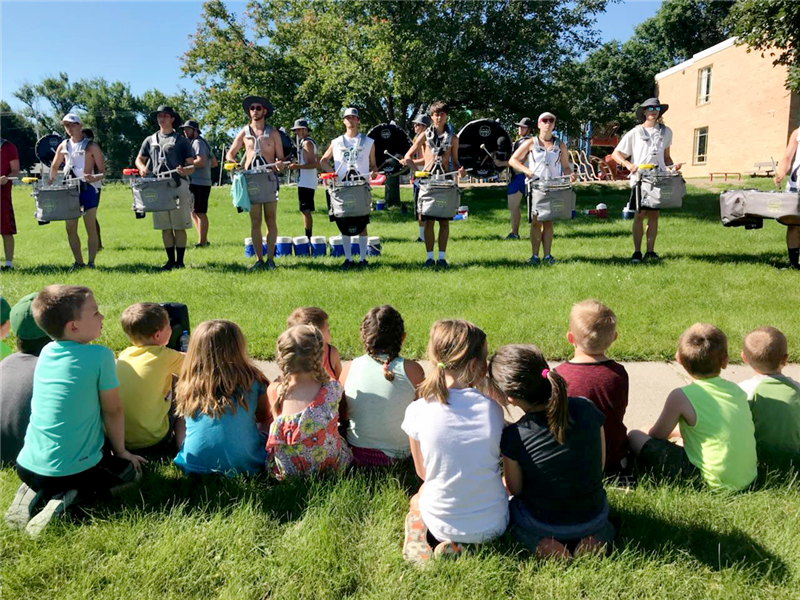 River City Rhythm Drum & Bugle Corps performed for Eagle Care kids