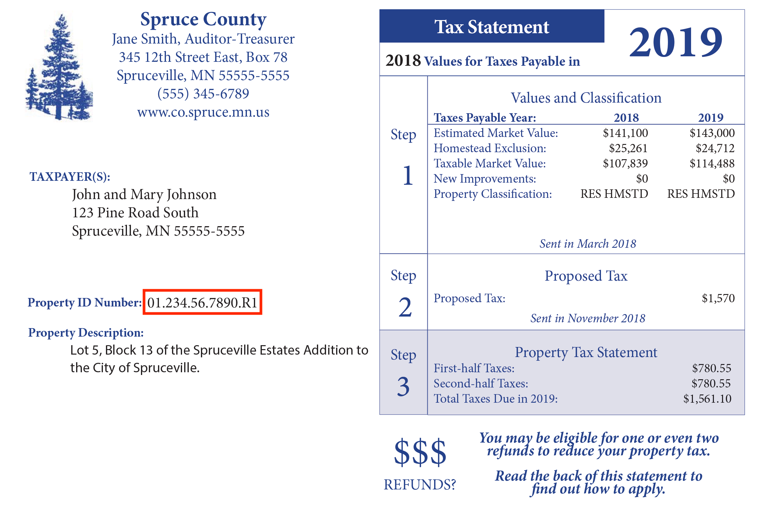 Example of Department of Revenue Property Tax Statement