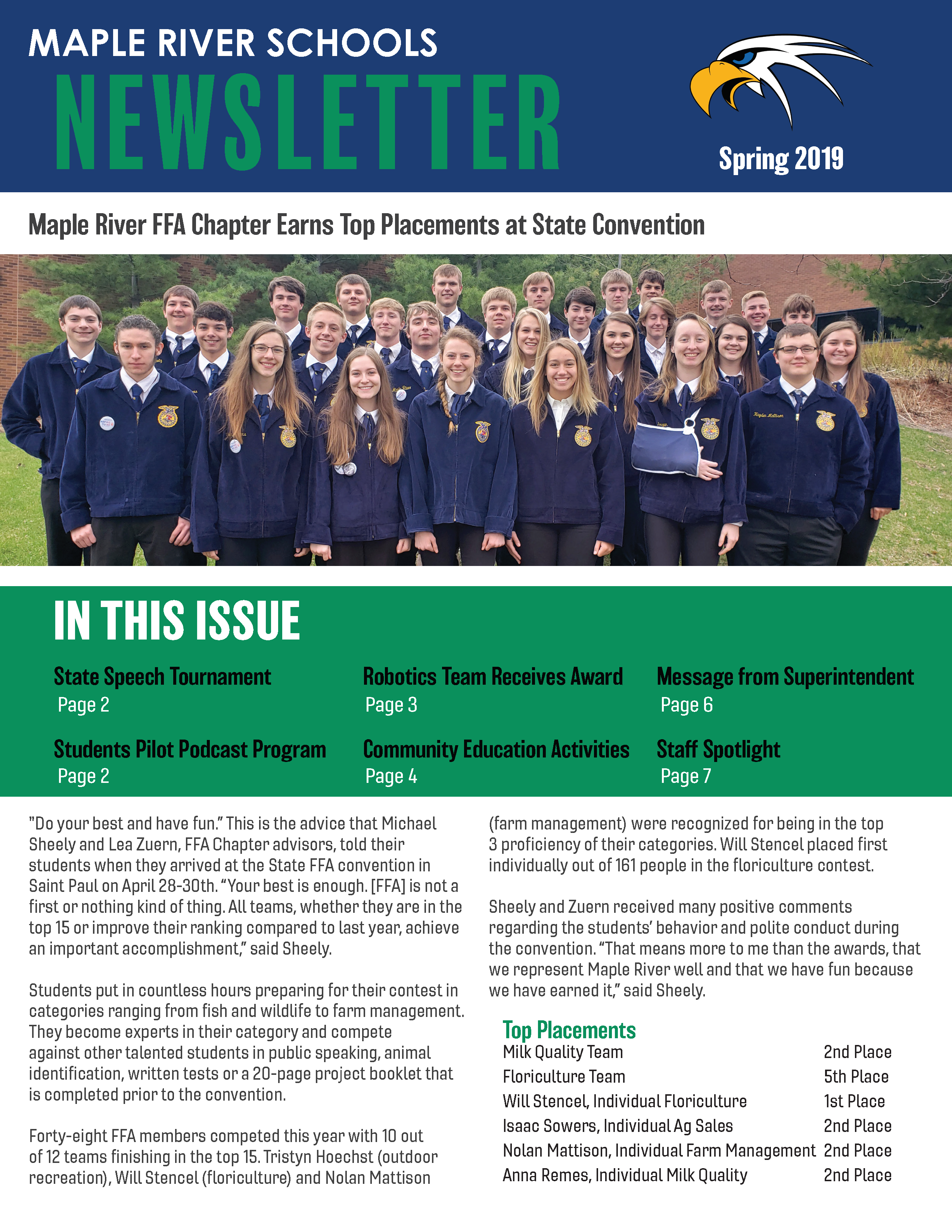 Front page of Maple River Schools Spring 2019 newsletter